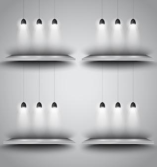Planken met 3 spots lamp met gerichte verlichting