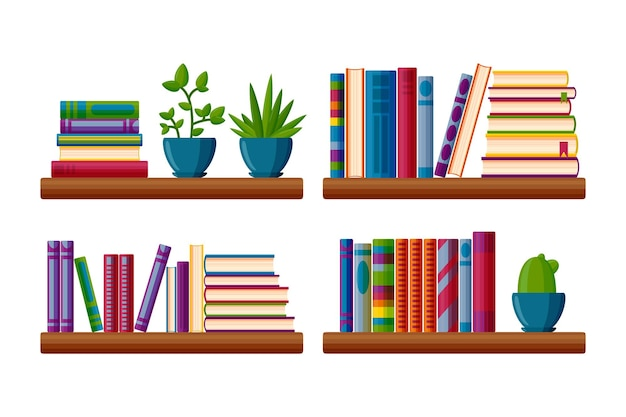 Planken met boeken en potplanten boeken in cartoonstijl