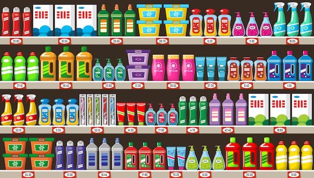 Planken met huishoudelijke chemicaliën in winkel