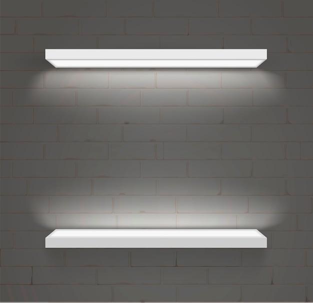 Planken voor goederen. decoratieve led-verlichting. modern meubilair en de handelsapparatuur. vector.