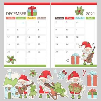 Planner december stickers 2021 maandelijkse kalender afdrukbare etiketten pagina sjabloon schema met muzikale kerstman cartoon clipart vector illustratie set