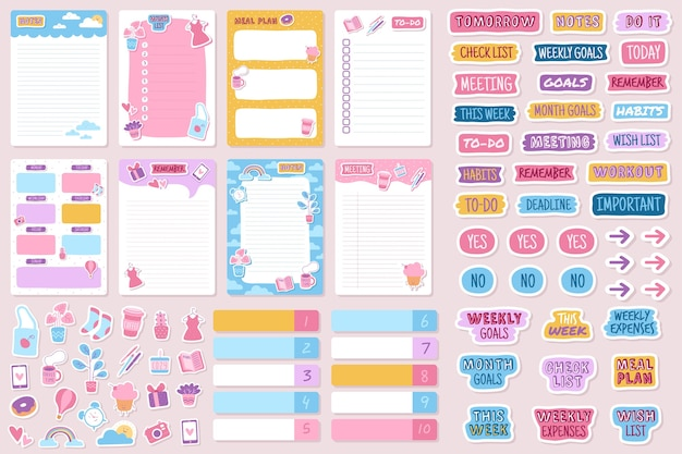 Planner en stickers georganiseerde dagelijkse notebooks agenda agenda herinnering