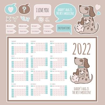 Planner kalender 2022 sjabloonschema en collectie met ontwerpelementen en honden