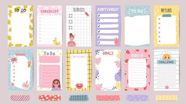 Planner lijst notities. wekelijkse takenlijsten en dagelijks schema met stickers en schattige patronen. checklist voor doelen en plannen sjabloon vector set. daag uit en vergeet geen papieren om af te drukken