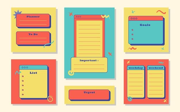 Planner met groenblauw roze gele kleuren retro thema afbeelding voor journaling, sticker en plakboek.