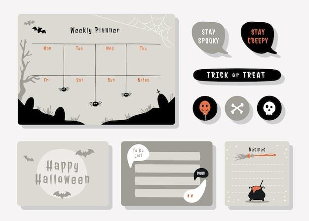 Planner met schattige illustratie halloween-thema afbeelding voor journaling, sticker en plakboek.