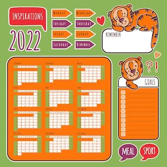 Planner stickers 2022 met tiger kalender schema en collectie