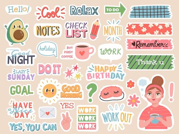Planner stickers. stripfiguren en motivatienotities voor dagboek, takenlijst of plakboekdecoratie. organisator dagboek woorden vector set met zinnen en avocado, meisje, slaapmasker badges