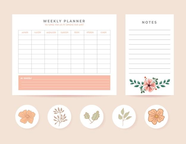 Planners instellen met maandelijkse en notities illustratie