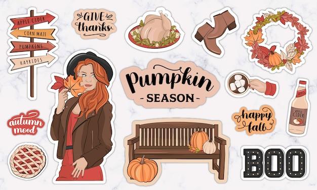 Plannerstickers met herfstthema en herfstdecoratie-elementen
