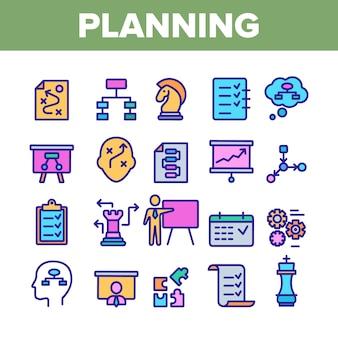 Planning elementen icons set