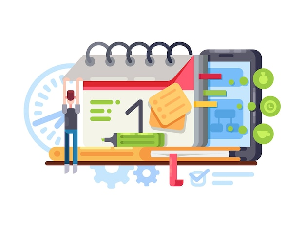 Planning en organisatie. organisator met kalender in smartphone. vector illustratie