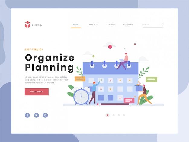 Planning en organisatie van taken aan boord, flat tiny persons man aan het werk met tijdlijn, systeemorganisatie voor dagelijkse routine.