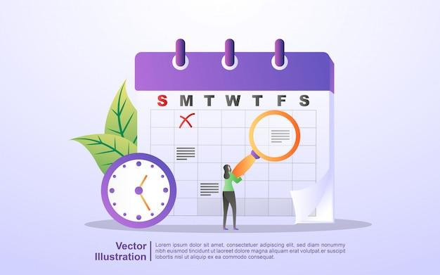Planning- en planningsconcept, creatie van persoonlijk studieplan, planning van bedrijfstijd, evenementen en nieuws, herinnering en planning