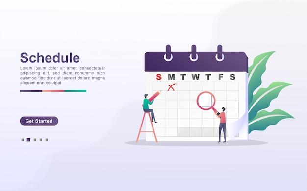 Planning- en planningsconcept, persoonlijke studieplanning, zakelijke tijdplanning, evenementen en nieuws, herinnering en planning. kan gebruiken voor web-bestemmingspagina, banner, mobiele app. plat ontwerp