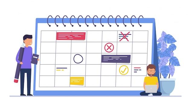 Planning, herinneringen en schema's voor zakelijke evenementen. concept zakenmensen, zaken man met potlood.