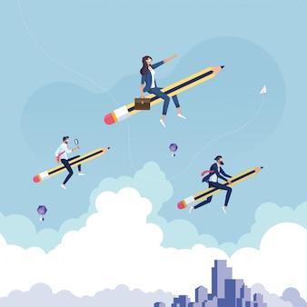 Planning leider bedrijfsconcept als een bedrijfsgroep op een gigantisch potlood