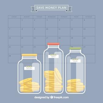 Planning om geld te besparen