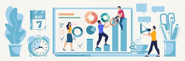 Planning online startstrategie vector concept