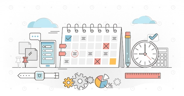 Planning overzicht concept illustratie