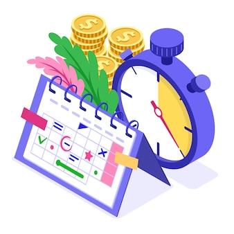 Planning planning tijdbeheer planning onderwijs vanuit huis met stopwatch kiest doelen op schema kalender deadline tijd isometrische infographics bedrijf geïsoleerd