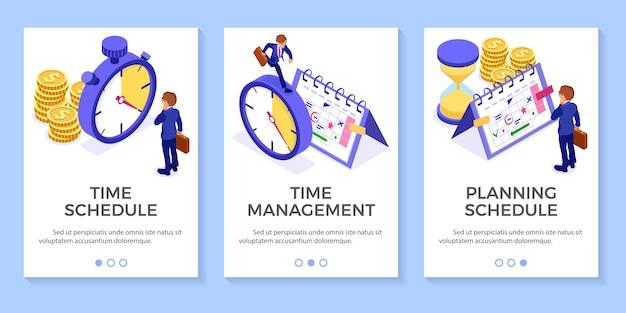 Planning planning tijdbeheer zakenman planning werk vanuit huis met zandloper stopwatch kiest doelen op de kalender kalender