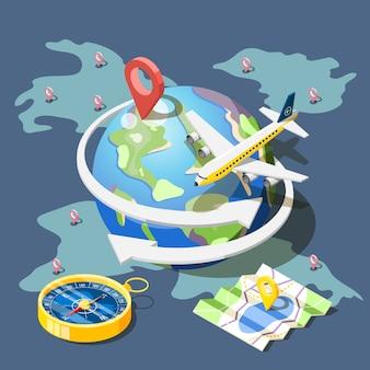 Planning reizen isometrische samenstelling