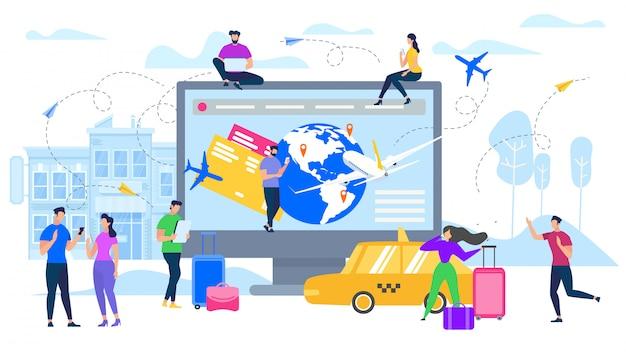 Planning reizen met online services platte vector