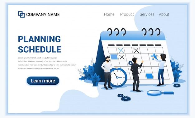 Planning schema concept. mensen vullen het schema op gigantische kalender, werkplanning, werk in uitvoering. illustratie