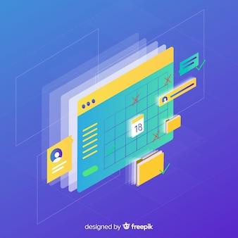 Planning schema concept met isometrisch perspectief