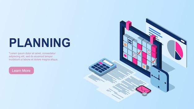 Planning. time management concept. efficiënt gebruik van werktijd voor implementatie van het businessplan. bovenaanzicht van de werkplek.