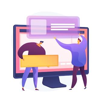 Planning van de ontwikkeling van de website-interface. devops team platte karakters aan het werk. ui, ux, inhoudsontwerp. creatie van computersoftware en webontwikkeling.
