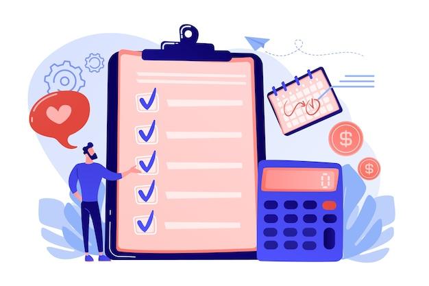 Planning van financiële analisten bij checklist op klembord, rekenmachine en kalender. budgetplanning, evenwichtige begroting, bedrijfsbegroting beheer concept illustratie