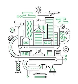 Planning van reizen, reizen, zomervakantie. illustratie van de moderne samenstelling van de lijnstad met stadsgebouwen en de elementen van reisinfographics