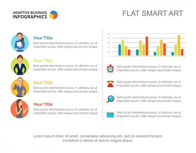 Planning werk dia sjabloon. chart. creatief concept voor infographic, rapport