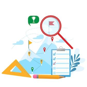 Planningsconcept. prestatie, carrière, doel bereiken, motivatie, groeileiderschap moderne platte vectorillustratie