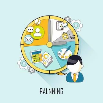 Planningsconcept: zakenman met een tijdschema in lijnstijl
