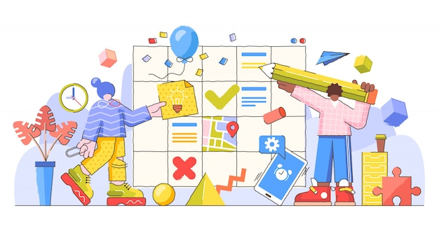 Planningsproces en controle, creatieve illustratie