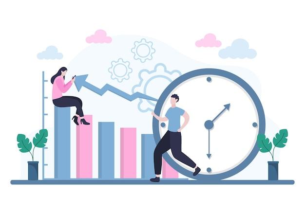 Planningsschema of tijdbeheer met kalender zakelijke vergaderingen, activiteiten en evenementen organiseren van proces kantoorwerk. achtergrond vectorillustratie