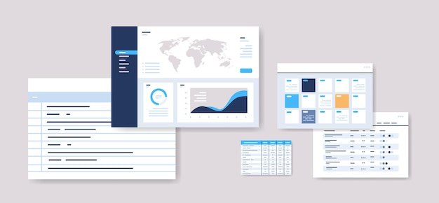 Planningsschema's instellen infographic dashboard sjablonen online planner organisatie tijd beheer concept horizontale vectorillustratie