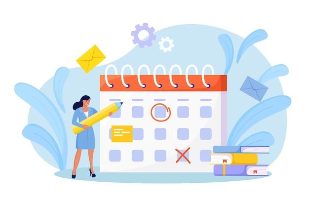 Planningsschema. vrouw controleert gebeurtenissen datum op enorme kalender. effectief tijdmanagement. medewerker organiseren van meldingen van levensgebeurtenissen, memoherinnering, werkplannen. dame maakt afspraken