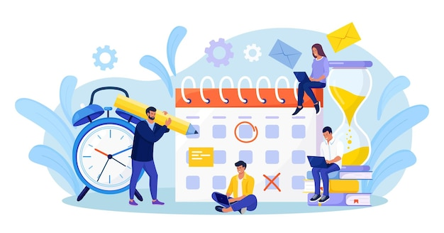 Planningsschema. zakenman die gebeurtenissen controleert datum op enorme kalender. effectief tijdmanagement. mensen die meldingen van levensgebeurtenissen, memoherinnering, werkplannen organiseren. man maakt afspraken