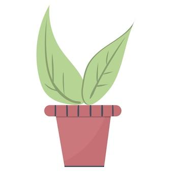 Plant bladeren in een pot, mooie groene kamerplant geïsoleerde vector. eenvoudige trendy vlakke stijl voor het ontwerp van binnentuindecoratie.