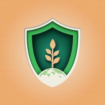 Plant en eco bescherming schild logo ontwerp. natuur en ecologie instandhouding concept. papier knippen.