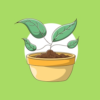 Plant in pot met cartoonstijl