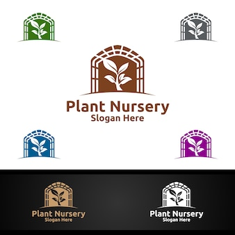 Plant kwekerij tuinman logo met groene tuinomgeving of botanische landbouw