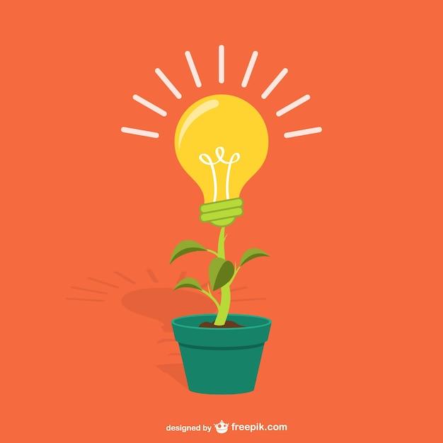 Plant met gloeilamp cartoon