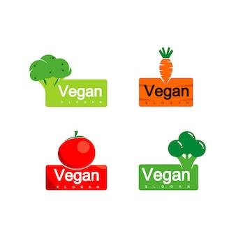 Plantaardig logo, veganistisch etiketontwerp