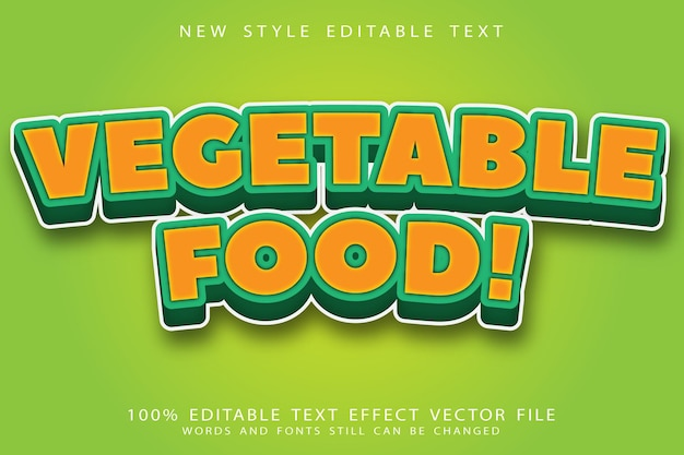Plantaardig voedsel bewerkbaar teksteffect reliëf moderne stijl