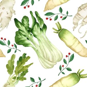 Plantaardige aquarel naadloze patroon daikon sla op witte achtergrond